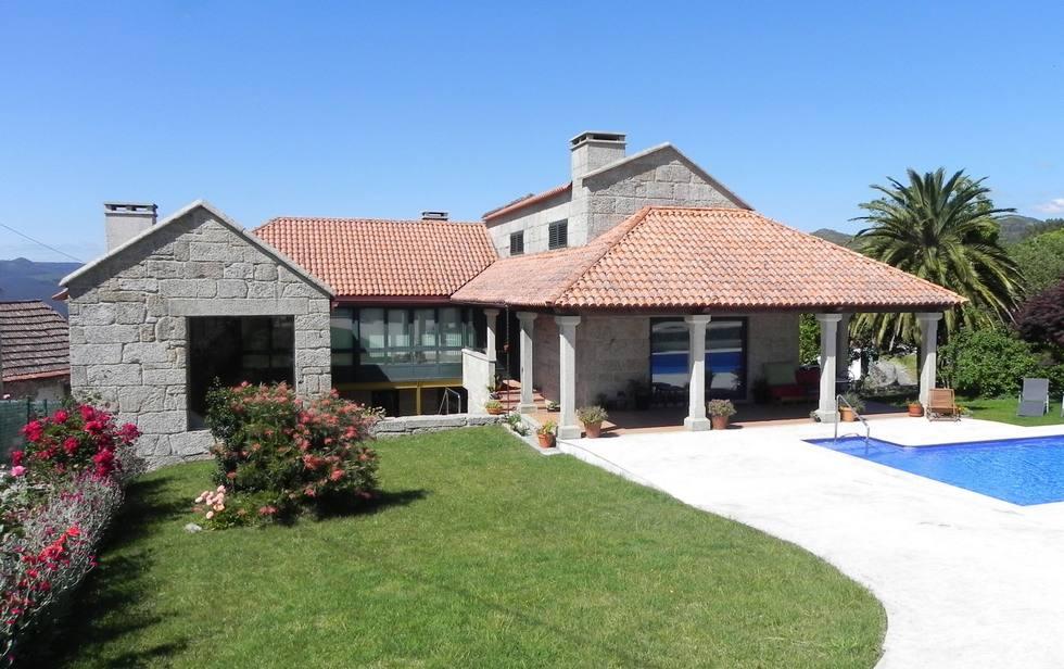 Casa O Campo en Rías Bajas, casa rústica gallega con piscina, jardín y barbacoa en Tenorio, Cotobade Ref. casa-o-campo