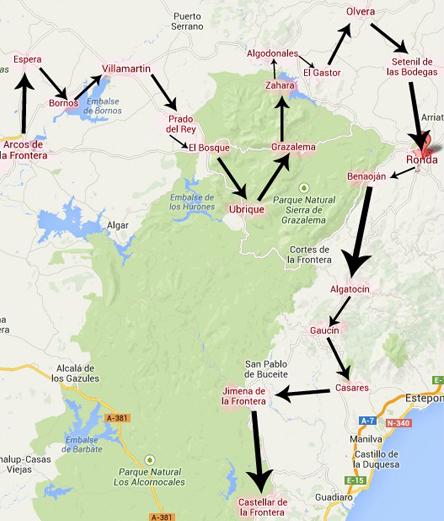Mapa Pueblos Blancos Cadiz.Ruta Por Los Pueblos Blancos